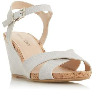 Roberto Vianni Grey 'Koreena' High Wedge Heel Ankle Strap Sandals