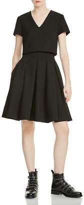 Maje Rozane Bodice Overlay A-line Dress