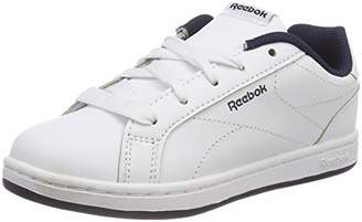 7848d8ce08d36 at Amazon.co.uk · Reebok Kids  Royal Complete CLN Gymnastics Shoes  White Collegiate Navy No Texture Toe