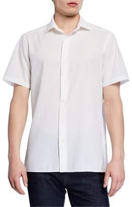 Ermenegildo Zegna Men's Seersucker Short-Sleeve Sport Shirt, White