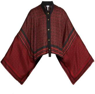 Loewe Anagram Print Silk Scarf Jacket - Womens - Black Red