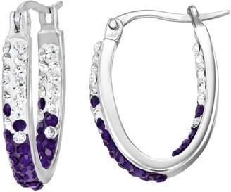 Kansas State Wildcats Crystal Sterling Silver Inside Out U-Hoop Earrings