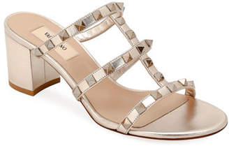Valentino Rockstud Caged Metallic Leather Slide Sandals