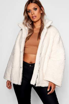 boohoo Plus Oversized Fleece Puffer Jacket