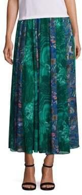 Romance Was Born Mixed Print Midi Skirt