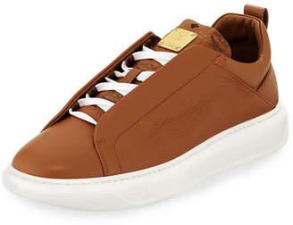 MCM Men's Grain Leather Low-Top Sneakers with Visetos Trim