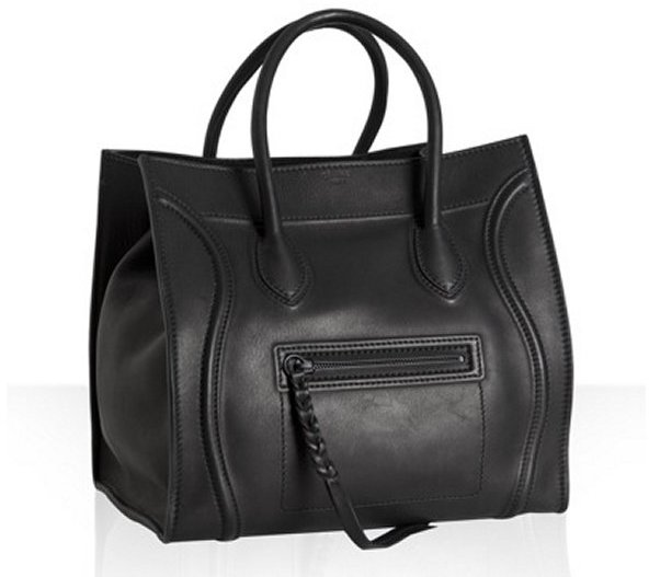 Celine black leather 'Luggage Phantom' square tote