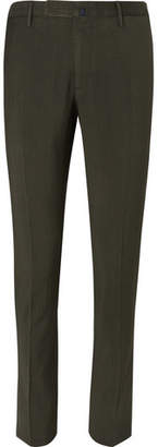 Incotex Slim-Fit Garment-Dyed Puppytooth Cotton Trousers - Men - Green
