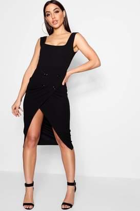 boohoo Natasha Wrap Button Skirt Midi Dress