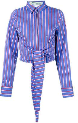 Off-White tie-waist striped shirt