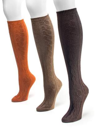 1309ffd5b Muk Luks 3-pk Cable-Knit Microfiber Knee-High Socks - Women