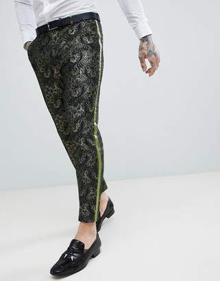 Asos Edition EDITION skinny crop suit trousers in green jacquard