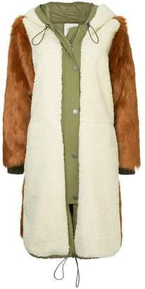 Sea button-up fur coat