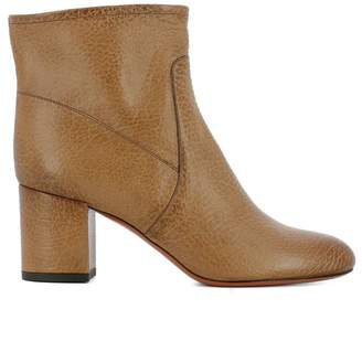 Santoni Brown Leather Heeled Ankle Boots
