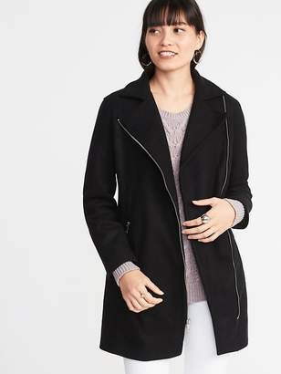 Old Navy Soft-Brushed Long-Line Moto Coat for Women