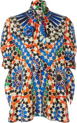 6c5b99c19b5659 Naeem Khan Printed Silk Satin Pussy Bow Blouse
