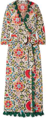 Rhode Resort - Lena Tasseled Printed Cotton-voile Maxi Dress - White