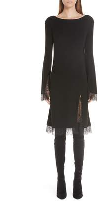 Adeam Lace Trim Ribbed Silk Dress