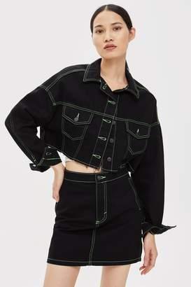 Topshop Neon Stitch Denim Jacket
