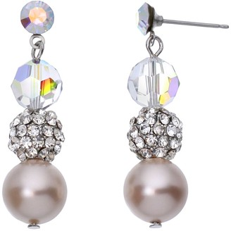 Swarovski Crystal Avenue Silver-Plated Crystal & Simulated Pearl Drop Earrings - Made with Crystals