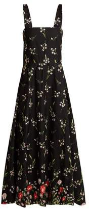 Gioia Bini - Lucinda Floral Embroidered Cotton Blend Dress - Womens - Black