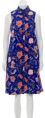 Diane von Furstenberg Floral Print Sleeveless Shirt Dress terracotta Floral Print Sleeveless Shirt Dress