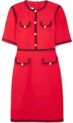 Gucci Faux Pearl-embellished Wool And Silk-blend Mini Dress