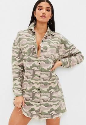 Missguided Camo Shirt Dress