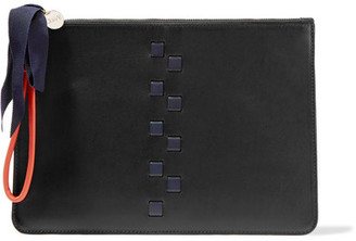 Clare V - Margot Woven Leather Clutch - Black $280 thestylecure.com