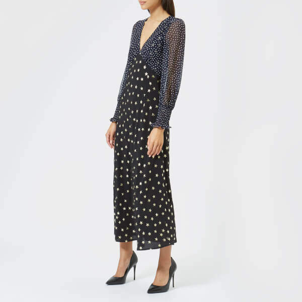 RIXO London Women's Erin Mixed Star Dot Dress Navy