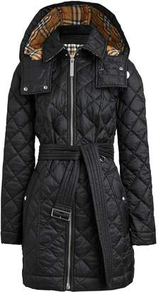 Burberry Detachable Hood Lightweight Diamond Quilted Coat