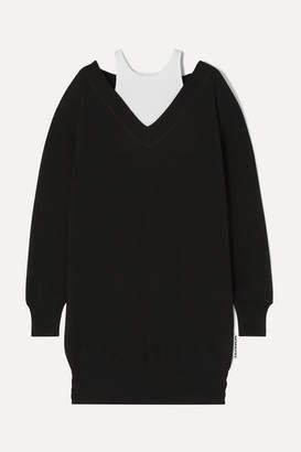 Alexander Wang Layered Merino Wool And Ribbed Stretch Cotton-jersey Mini Dress - Black
