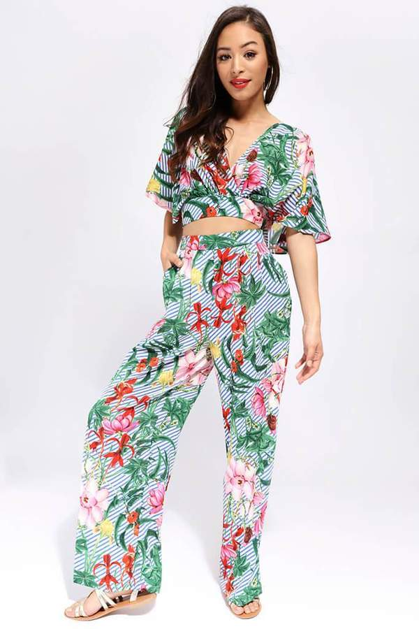 Isawitfirst White/Green Tropical Print Palazzo Trousers