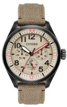 Citizen Chandler Eco-Drive Military Analog Cordura Fabric Strap Watch