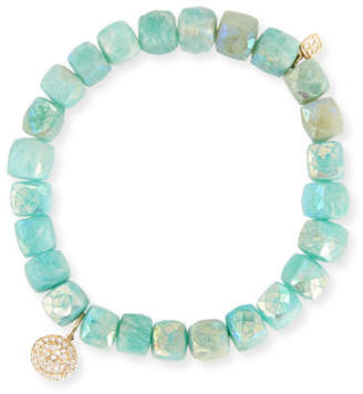 Sydney Evan 8mm Beaded Amazonite Bracelet with Diamond Happy Face Charm