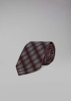 Giorgio Armani Silk Tie With Ombre Check Pattern