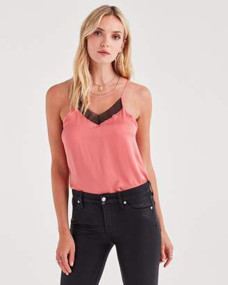 7 For All Mankind Cupro Cami in Tourmaline Pink