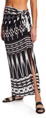 Marie France Van Damme Silk Midi Sarong Skirt