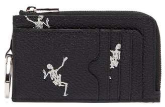 Alexander McQueen Dancing Skeleton Print Grained Leather Wallet - Mens - Black White