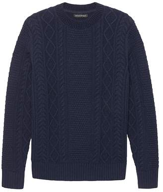 Banana Republic Italian Merino Wool Blend Cable-Knit High Crew-Neck Sweater