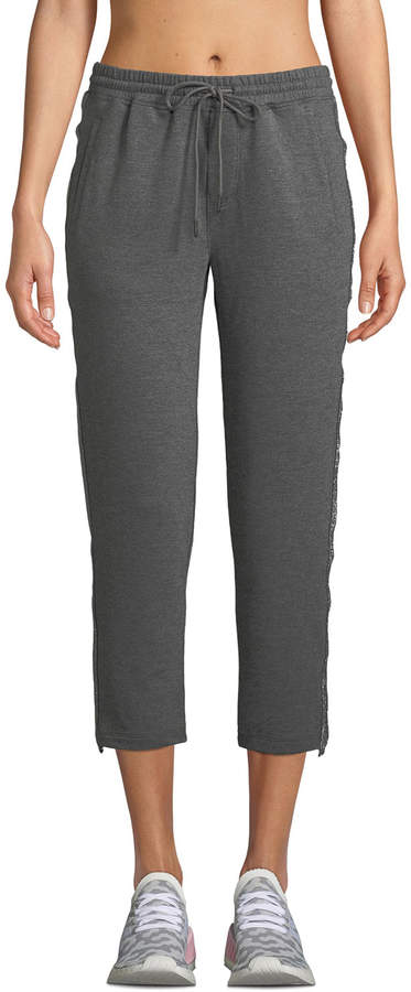 X By Gottex Shimmer-Striped French Terry Capri Joggers