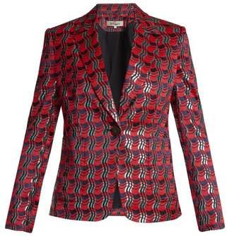 Diane Von Furstenberg - Waved Check Single Breasted Jacquard Jacket - Womens - Red Multi