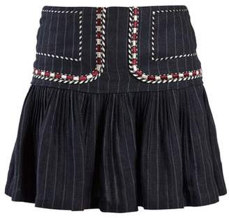 Etoile Isabel Marant Jessie Pinstriped Gathered Linen Skirt - Womens - Navy Stripe
