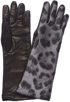Moncler Leather-Trim Gloves