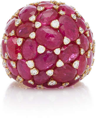 Saboo Royale 18K White Gold Ruby And Diamond Ring