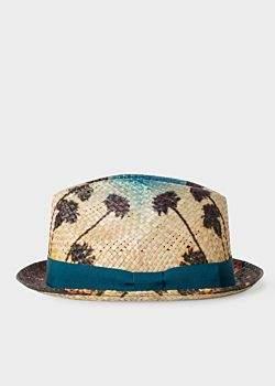 Paul Smith Men's Stone 'Palm Tree' Print Panama Straw Hat