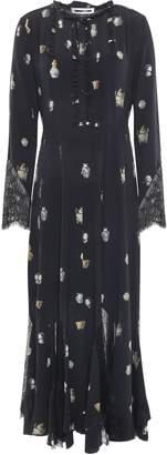 McQ Pintucked Lace-trimmed Crepe De Chine Midi Dress