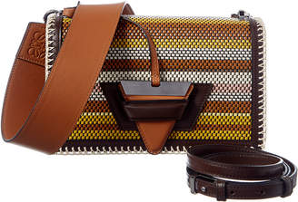 Loewe Barcelona Woven Stripe Leather Shoulder Bag