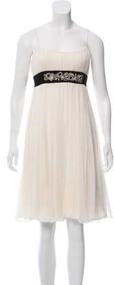 Marchesa Silk Sleeveless Knee-Length Dress