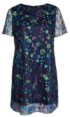 Tahari Mesh Embroidered Shift Dress